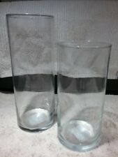 """Lot of 2   Clear Glass Cylinder Vases -  9""""H & 7-1/4""""H  -  New"""