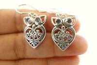 Owl Blue Topaz 925 Sterling Silver Dangle Drop Earrings