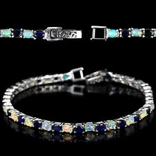 Sterling Silver 925 Genuine Cabochon Opal & Blue sapphire Bracelet 7 Inches