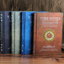 """""""Time Notes"""" 1pc Hard Cover Vintage Retro Notebook Lined Freenote Diary Journal"""