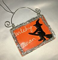 """Halloween Witch Witchy Woman Ceramic Wall Hanging 2""""x3"""" Dept 56 Sandra Magsamen"""