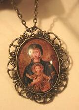 Scallop Rim Brasstne Speckled Deep Blue Madonna & Child Cameo Medal Necklace Pin