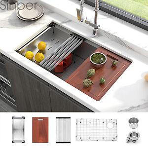 """Sinber 30"""" Undermount 16 Gauge Single Bowl Stainless Steel Kitchen Sink"""