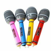 4 x Neon Inflatable Blow Up Microphone 60s 70s 80s Disco Dress Prop Magic~