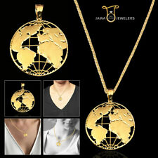 10K Yellow Gold Diamond Cut World Globe Map Charm Pendant Men Women