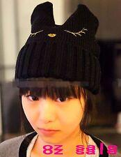 Woman Girls Warm Hot Kitty Cat Bunny Ear Ski Knit Black Punk Hat Beanie Cap