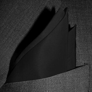 "Classic Black Silk Pocket Square - Full Sized 16""x16"" - 30 Colors - Royal Silk®"