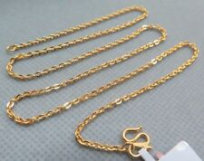 999 New Pure 24K Yellow Gold Necklace Woman's Fine O Link Chain 15.7inch- 40cm