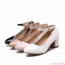 Womens Ladies Sandals Pumps Classics Shoes Ankle Strap Block Heels AU Size Z521