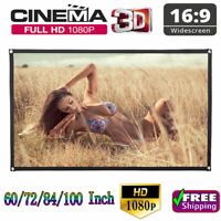 """120"""" HD Projector Screen 16:9 Home Cinema Theater Projection Screen Outdoor USA"""