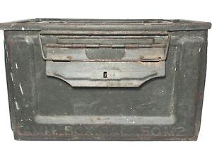 Vintage Military Metal Ammunition Box (Ammo Box Cal 50M2) Modern US Flaming Bomb