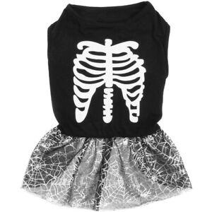 Tails Halloween Pet Costume Black & Silver Skeleton Tutu 30cm