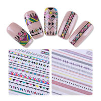 Ethnic Style 3D Nail Art Stickers Geometric Strip Lines Adhesive Transfers Decor