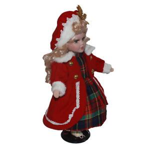 30cm Vintage Céramique Fille Poupée Personnes Figure avec Robe Rouge