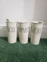 "RAE DUNN ""YOU CHOOSE"" CERAMIC IVORY LARGE LETTER TO GO COFFEE TUMBLER"