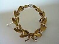 """Antique Unmarked Gold Laurel Wreath Solitaire Seed Pearl Watch Pin Brooch 7/8"""""""