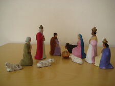 Antique Nativity Set Paper Mache Made in Germany 11 pieces