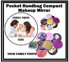 FOTO di famiglia personalizzata-BORSETTA / TASCHINO Trucco Specchio Compatto-Regalo-Nuovo