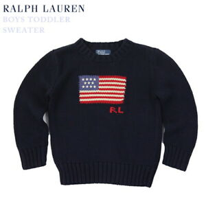 Polo Ralph Lauren Kids Crewneck USA Flag Sweater - Navy - size (2-7)