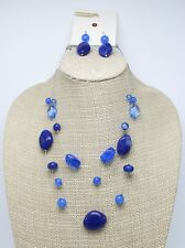 Beautiful New Multi Strand Necklace Earring Set with Deep Blue Stones #N2625