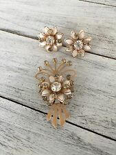 Set Goldtone and White with Rhinestones Vintage Flower Pin / Brooch and Earring