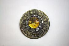 "Scottish Yellow Stone Antique Brass Brooch for Kilt Fly/Piper Plaid 3"" Diameter"
