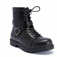 Truffle Colt4 Black Ankle Boots Cross Over Strap Flat Combat Boot