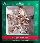 Kurt Adler Rustic Vine Rattan 10-light STAR Tree Top red berries lighted