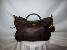 Prada Cacao Antik Cervo Deerskin Leather Hobo Shoulder Bag Purse/Handbag