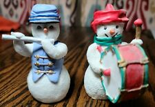 Snowman figurines Set of Two Musicians Flute Drums