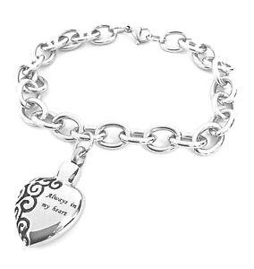 "Cremation Ashes Jewellery Keepsake Bracelet Urn ""Always in my Heart"" Engravable"