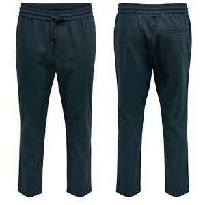 Only & Sons Mens Tapered Cropped Trousers Drawstring Cool Party Loose Fit Pants