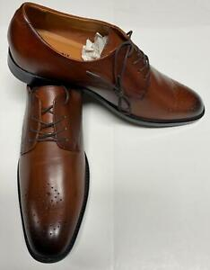 Alfani Men's Leather Shoes Darwin Lace-Up Oxfords Tan/Brown