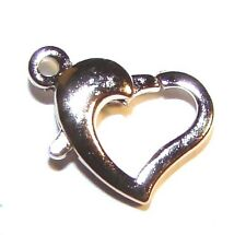 M716h Silver Heart 12mm Lobster Clasp Metal Jewelry Findings 4pc