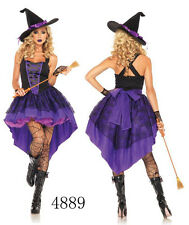Purple Adult Women Broomstick Witch Wicked Halloween Party Costume Outfit Dress