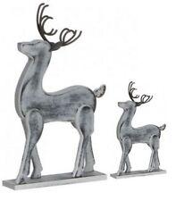 weißes 2tlg. Rentier Set Holz Hirsch Weihnachtsdeko Dekoration Weihnachten 52097