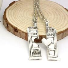 2pcs Dr. Doctor Who Police Phone Booth Tardis Couple Necklace Set Best Friend