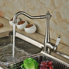 Brushed Nickel Swivel Spout Kitchen Faucet Single Lever Sink Mixer Tap