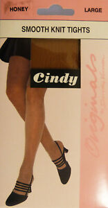 Cindy Originals Large Size Smooth Knit Tights in Honey