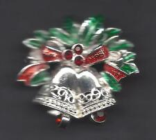 HOLIDAY BELLS WITH WREATH AND CLAPPERS PIN BY AVON - 1.25 INCHES
