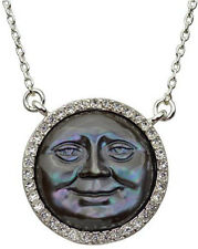 KIRKS FOLLY MOTHER OF PEARL SEAVIEW MOON NECKLACE silvertone grey mist