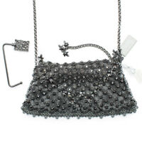 Kenny Ma Metal Mesh Swarovski Bag Black Gunmetal Bead Handbag Purse New