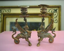 Antique Vintage Unique Pair Brass Griffins Sphinx Dragon Candle Holders Sticks