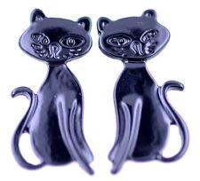 Cool black enamel cat / kitten / kitty stud earrings