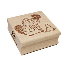 Construction Worker Beaver Builder with Stop Sign Square Rubber Stamp Stamping