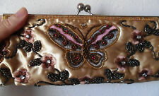 Beaded Embroidered PURSE Shoulder X-Body Bag Clutch 2 Different Straps Butterfly