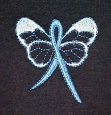 Blue Ribbon Butterfly Sweatshirt S Colon Cancer Awareness Navy Crew Neck New