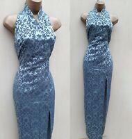 UK 10 Karen Millen Jacquard Halterneck Oriental Chinese Wrap Long Maxi Dress
