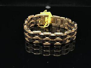 "Invicta Elements Men Back/Gold Tone 8.75"" Motorcycle Chain SS Bracelet-30341"