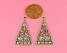 Earring Findings - 2 Pc(s) Antique Silver Plated Brass Art Deco
